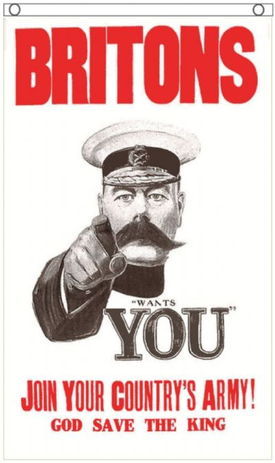 Britons Lord Kitchener Wants You World War I Hanging 5'x3' (150cm x 90cm) Flag